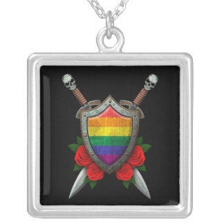 Worn Rainbow Gay Pride Flag Shield and Swords with Square Pendant Necklace