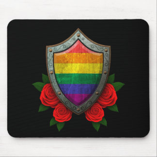 Worn Rainbow Gay Pride Flag Shield with Red Roses Mouse Pad
