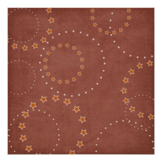 Worn Red Circle Stars Backdrop Canvas Poster