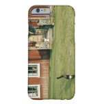 Worn red house with a cat on the lawn. barely there iPhone 6 case