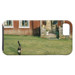 Worn red house with a cat on the lawn. iPhone 5 case