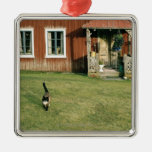 Worn red house with a cat on the lawn. christmas tree ornament