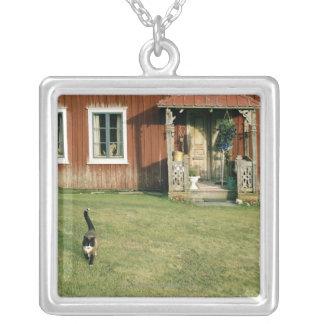 Worn red house with a cat on the lawn. silver plated necklace