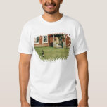 Worn red house with a cat on the lawn. tee shirts