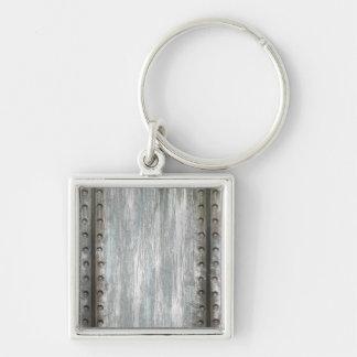 Worn Riveted Metal Grunge Textured Keychain