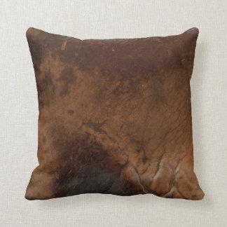 Worn Saddle Faux Leather Throw Pillow