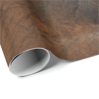 Worn Saddle Faux Leather Gift Wrap Paper