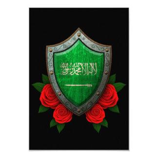 Worn Saudi Arabia Flag Shield with Red Roses Card