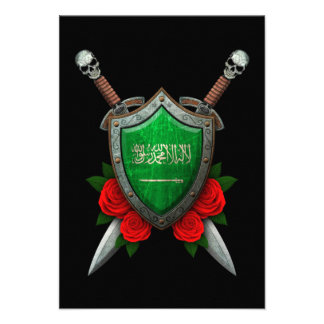 Worn Saudi Arabia Flag Shield with Red Roses Personalized Announcements