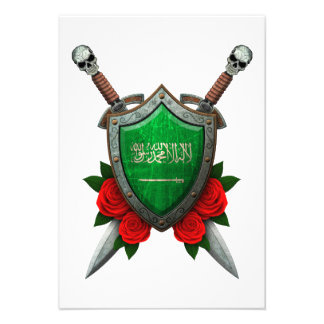 Worn Saudi Arabia Flag Shield with Red Roses Invite