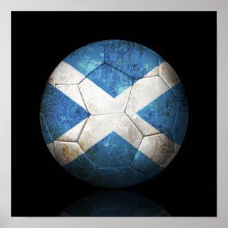 Worn Scottish Flag Football Soccer Ball Poster