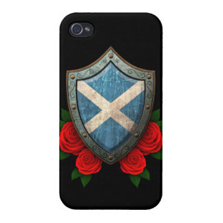 Worn Scottish Flag Shield with Red Roses Cover For iPhone 4