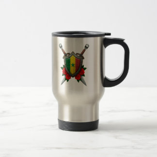 Worn Senegal Flag Shield and Swords with Roses Coffee Mug