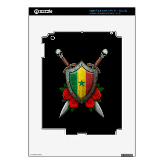 Worn Senegal Flag Shield and Swords with Roses Decals For iPad 3