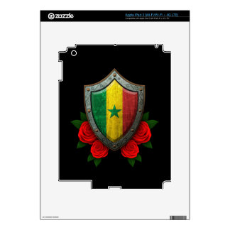 Worn Senegal Flag Shield with Red Roses iPad 3 Skin