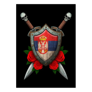 Worn Serbian Flag Shield and Swords with Roses Large Business Cards (Pack Of 100)