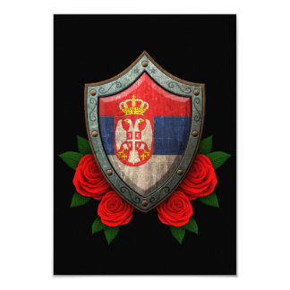 Worn Serbian Flag Shield with Red Roses Card