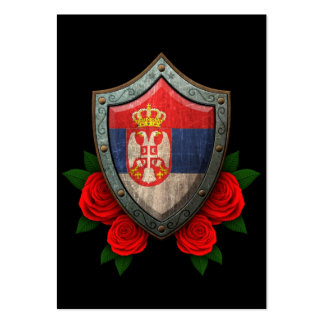 Worn Serbian Flag Shield with Red Roses Large Business Cards (Pack Of 100)