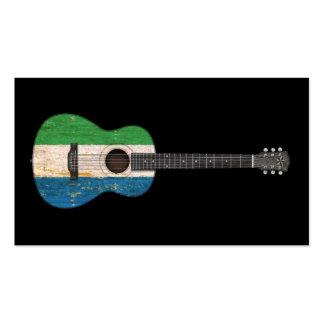 Worn Sierra Leone Flag Acoustic Guitar black Business Card