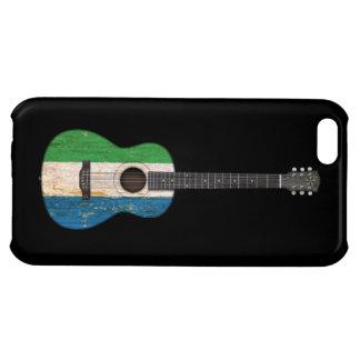 Worn Sierra Leone Flag Acoustic Guitar, black iPhone 5C Cases
