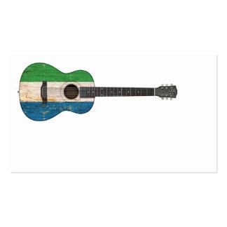 Worn Sierra Leone Flag Acoustic Guitar Business Card