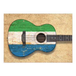 Worn Sierra Leone Flag Acoustic Guitar Card