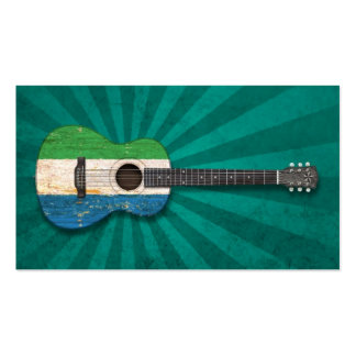 Worn Sierra Leone Flag Acoustic Guitar teal Business Card Template