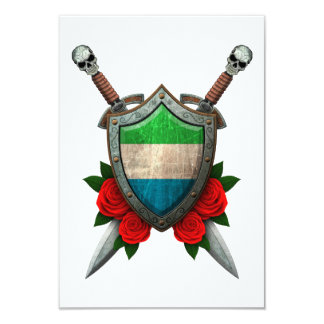 Worn Sierra Leone Flag Shield and Swords with Rose 3.5x5 Paper Invitation Card