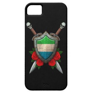 Worn Sierra Leone Flag Shield and Swords with Rose iPhone SE/5/5s Case