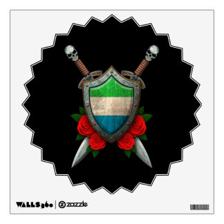 Worn Sierra Leone Flag Shield and Swords with Rose Wall Decal