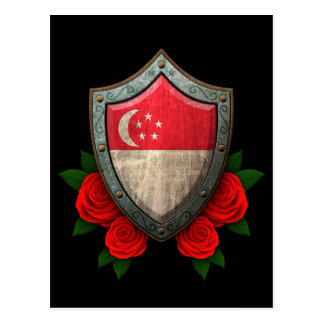 Worn Singapore Flag Shield with Red Roses Postcard