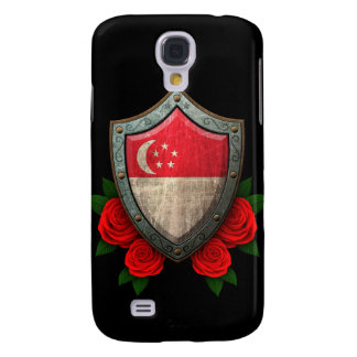 Worn Singapore Flag Shield with Red Roses Samsung S4 Case