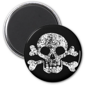 Worn Skull and Crossbones 2 Inch Round Magnet