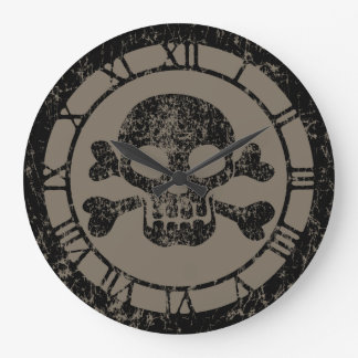 Worn Skull And Crossbones Large Clock