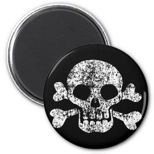 Worn Skull and Crossbones Fridge Magnet