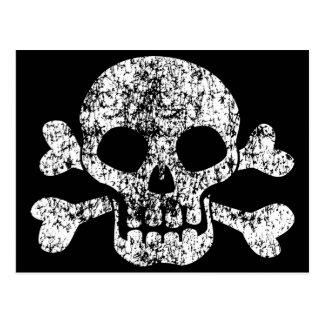 Worn Skull and Crossbones Post Card