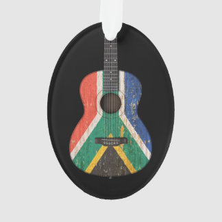 Worn South African Flag Acoustic Guitar, black