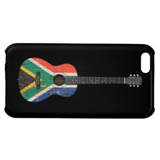 Worn South African Flag Acoustic Guitar, black Cover For iPhone 5C