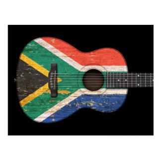 Worn South African Flag Acoustic Guitar, black Postcard