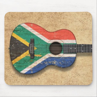 Worn South African Flag Acoustic Guitar Mouse Pad