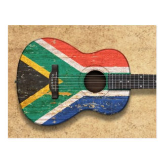 Worn South African Flag Acoustic Guitar Postcard