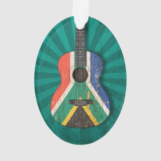 Worn South African Flag Acoustic Guitar, teal