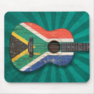 Worn South African Flag Acoustic Guitar, teal Mouse Pads