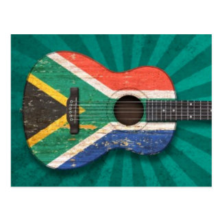 Worn South African Flag Acoustic Guitar, teal Postcard