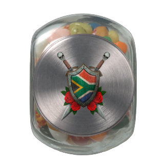 Worn South African Flag Shield and Swords with Ros Jelly Belly Candy Jar