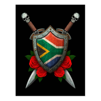 Worn South African Flag Shield and Swords with Ros Postcard