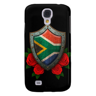 Worn South African Flag Shield with Red Roses Samsung S4 Case