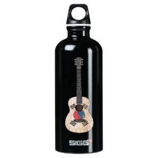 Worn South Korean Flag Acoustic Guitar, teal Aluminum Water Bottle