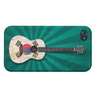 Worn South Korean Flag Acoustic Guitar teal Cases For iPhone 4