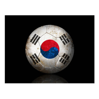 Worn South Korean Flag Football Soccer Ball Postcard